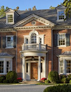 New Georgian Revival Home Colonial House Plans, French Country House Plans, Dream Home Design, House Design, Townhouse Exterior, House Outside Design, Neoclassical Architecture, Custom Home Plans, Castle House