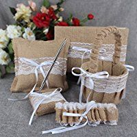 OurWarm Burlap Lace Rustic Wedding Garter Khaki