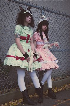 Lolita nurse outfits by gloomth in pastel mint green or pale pink with white accents. Available in sizes Aesthetic Fashion, Aesthetic Clothes, Goth Aesthetic, Grunge Fashion, Gothic Fashion, Japan Outfits, Female Knight, Tokyo Street Style, Pastel Mint