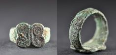Amlash bronze ring with spirals 6, 1st millenium B.C. Amlash bronze ring with spirals, 1.6 cm long bezel, 1.8 cm diameter ring size, 8 gr weight. Private collection