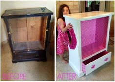 Kids Dress up clothing storage, 5 Drawer dresser turned into fun childrens furniture! Paint, wrapping paper and mod podge. Just add tension rod. Can add mirror and hooks for other accessories! Refinished, Furniture makeover, redo. DIY furniture redos #childrenfurniture