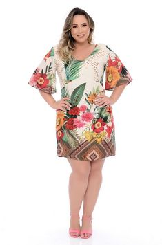 Vestido Plus Size Kaylee - daluzplussize Casual Frocks, Vestidos Plus Size, Moda Plus, Sweet Dress, Women's Fashion Dresses, Stylish Outfits, Plus Size Outfits, Plus Size Fashion, Ideias Fashion