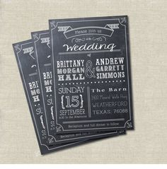 Tablero de tiza moderno de estilo invitación de la boda, invitación imprimible DIGITAL, pizarra invitan.