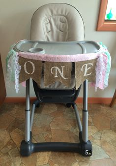 high chair banner first birthday - girl one year old by ShelsCustomTreasures on Etsy