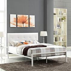 Lottie Queen Vinyl Bed in White White