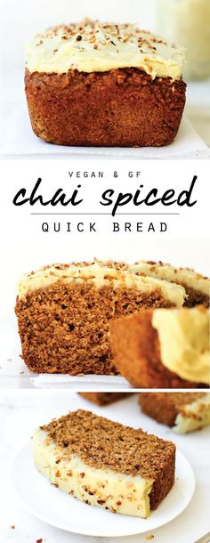 Chai Spiced Quick Bread {vegan, gluten-free, oil-free} - Soft, sweet, spiced loaf cake with creamy vanilla frosting perfect for a cozy snack or healthy slic - Gluten Free Baking, Healthy Baking, Gluten Free Vegan Cake, Gluten Free Quick Bread, Gluten Free Muffins, Vegan Baking Recipes, Quick Vegan Recipes, Gluten Free Vanilla Cake, Vegan Brunch Recipes