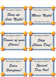 chore chart and reward coupons rewards for activity of parents