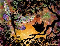 Fairy and bird friend by mollie Fairy Dust, Fairy Land, Fairy Tales, Dragons, Fairy Silhouette, Love Fairy, Beautiful Fairies, Magical Creatures, Art Pages
