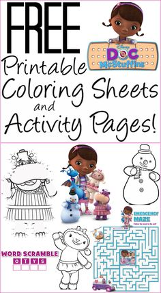Free printable Doc McStuffins coloring pages, activity sheets | Disney printables