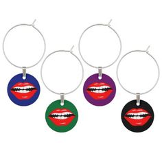 Smart Mouth Wine Glass Charm $17.95 With a grin like this, you KNOW someone is up to something! Cartoon lips and teeth set in almost a snarl. Smarmy mouth! The mouth with attitude!
