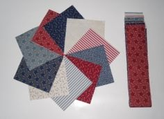 "Red/white/Blue pre-cut set from Creative Quilting (20). This precut set of 20 x 5"" squares and 20 x 2 ½"" strips is unique to Creative Quilting.  This lovely set of fabrics is sufficient (plus border fabric) to make a small lap quilt and as it is pre-cut you will be able to start sewing as soon as the postman arrives!  These are cut from the stock held by Creative Quilting so may vary a little from the picture, but will give the same overall effect."