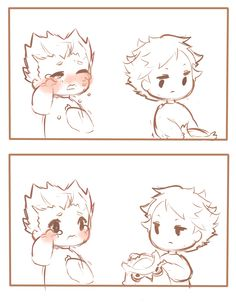 Baby Akaashi consoling bay Bokuto... I got blessed    Credits to the artist