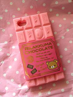 cute chocolate kawaii pink iphone case Strawberry rikakkuma cellphone case