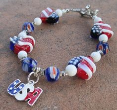 Patriotic Hearts of America Charm Bracelet. Starting at $10 on http://tophatter.com/auctions/17747?campaign=featured=internal