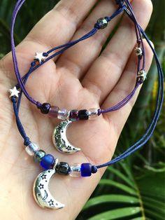 silver moon bracelet, moon and stars anklet, celestial gift, purple bracelet, celestial jewelry, MOON lover, gift for daughter, gift for mom