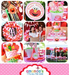 Elmo Invitation in Pink  Elmo Birthday Party