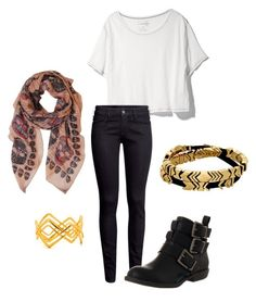 """""""Youngwon - E.R"""" by clemerina ❤ liked on Polyvore featuring Free People, H&M, Blowfish, Humble Chic and House of Harlow 1960"""