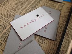 Business cards!   Letter pressed onto millboard