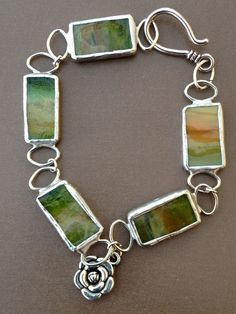 Stained glass bracelet: silver soldered: made by M(e)