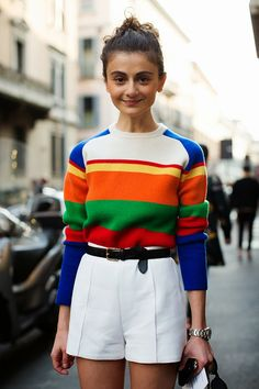 Natalia Alaverdian multi colored sweater and white bottoms  @JillianMcneill