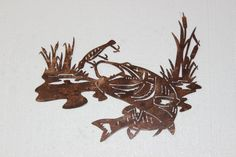 Bass Fish Chasing Treble Hook Metal Wall Art Home Decor - Measures Approx: x (Inches) - Copper Powder Coat - High Quality Steel Construction - Will not warp like vinyl - Custom Orders Ava Metal Wall Decor, Metal Wall Art, Lake Art, Country Farmhouse Decor, Scroll Saw Patterns, Metal Artwork, Western Decor, Rustic Decor, Wall Sculptures