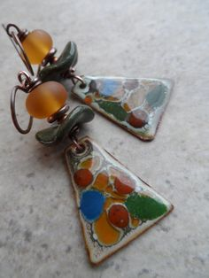 Earthy Mosaic ... Enameled Copper, Lampwork, Ceramic and Copper Wire-Wrapped Earthy, Rustic, Boho Earrings