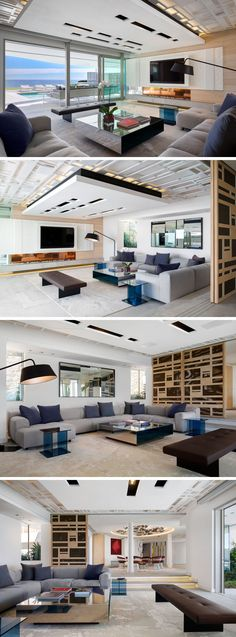 This modern house has an informal lounge with sliding glass doors that open to the pool deck and a BBQ area. A decorative ceiling detail draws your eye upward, making the room feel taller. #LivingRoom #InformalLounge #ModernInteriorDesign