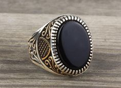 925 K Sterling Silver Man Ring  Black Onyx Gemstone 33.40$
