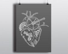 Bicycle Art Print, Bike Art Print, Vintage Campagnolo : Anatomical Cycling Heart, Chalkboard Edition