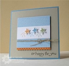 Stamps: So Happy for You set, A to Z background stamp  Ink: Peach Parfait, Pear Pizazz, Marina Mist, Bashful Blue, Basic Black classic inks  Paper: Sahara Sand, Marina Mist, Whisper White, Bashful Blue cardstock; Peach Parfait textured cardstock  Accessories: Linen Thread, Dazzling Diamonds glitter, Dotted Scallop Ribbon boarder punch