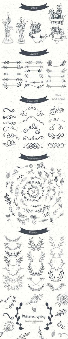 Set of floral doodle elements.