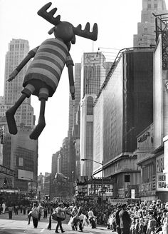 Nov. 26, 1970: Some things never change. The Bullwinkle balloon floated gracefully above Times Square in the annual Macy's Thanksgiving Day Parade as several hundred thousand New Yorkers lined the route below.