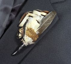 Rustic Feather boutonniere Three inch brown spike with pheasant feathers by GlassPlumes on Etsy Feather Boutonniere, Feather Bouquet, Feather Wall Art, Glitter Wedding, Button Art, Lapel Pins, Wedding Accessories, Hair Pins, Pheasant Feathers