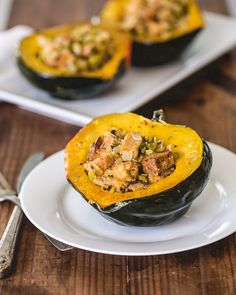 Stuffed Acorn Squash- this is one of my favorite things to eat, though I haven't tried this recipe yet.