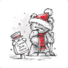 Adorable little Christmas bear posting a sign for Santa • Illustration by Chris Gaisey