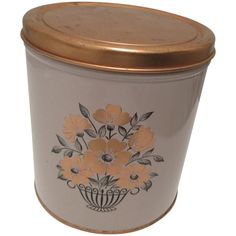 Decoware Kitchen Canister Floral Pattern.(Empty Tin)