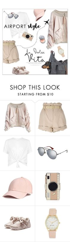 """Jet Set: Airport Style"" by vinograd24 ❤ liked on Polyvore featuring Chicwish, Moschino, Gucci, Kate Spade, Puma, Nine West, Bobbi Brown Cosmetics and airportstyle"