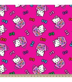 Sanrio Hello Kitty Tea Cups Fleece FabricSanrio Hello Kitty Tea Cups Fleece Fabric,