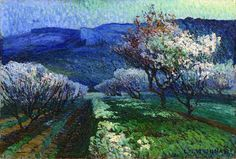 """LOUIS MATHIEU VERDILHAN (1875 - 1928) - """"Champ de cerisiers"""""""