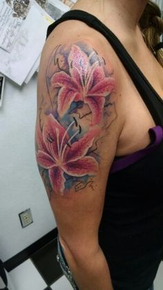 73b0ce81f Right Half Sleeve Watercolor Lily Flowers Tattoo Boy Tattoos, Feather  Tattoos, Sleeve Tattoos,