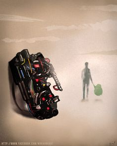 An Illustrated Tribute to the Late Harold Ramis Depicting Egon Spengler Walking into the Great Beyond with Slimer - model. Harold Ramis, Proton Pack, The Real Ghostbusters, Ghost Busters, Computer Art, Geek Out, Light Switch Covers, Doctor Who, Beetlejuice