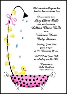 Voted best for welcoming mom and new baby cheap and unique new baby customize any of our welcome home baby girl duckling in bathtub shower party invitation designs at invitationsbyu like card number 7703ibu wh with lots stopboris Image collections