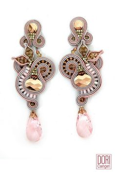 Soutache earrings : Beverly Hills Pink Earrings