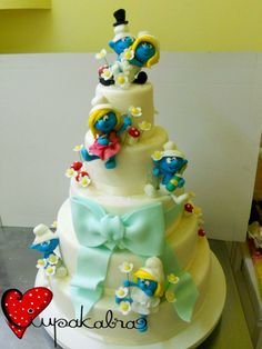 smurf wedding cake