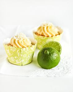 coconut chiffon cupcakes filled with lime curd with coconut buttercream