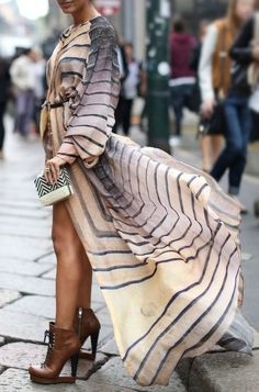 Swept up in Stripes: Semi-Sheer Maxi Shirtdress