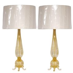 Elegant Pair of Gold and Crystal Barovier Style Handblown Murano Glass Lamps.  Absolutely stunning!