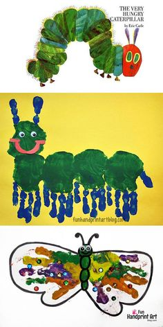 The Very Hungry Caterpillar Handprint Craft. Make this cute handprint crafts that show the caterpillar then how he turns into a beautiful butterfly. Craft to help students see the difference in a caterpillar and a butterfly. The Very Hungry Caterpillar Activities, Hungry Caterpillar Craft, Toddler Crafts, Toddler Activities, Crafts For Kids, Preschool Projects, Preschool Activities, Colour Activities, Handprint Art