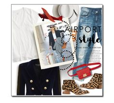 """Airport Style"" by luvfashn ❤ liked on Polyvore featuring Sans Souci, Balmain, J.Crew, Calypso Private Label and Alexander Wang"