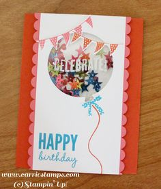 Birthday Card Balloon Shaker Card by CarrieStampsCards on Etsy